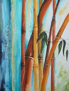 Bambus.Vielfalt. 36x48 cm. Aquarell.