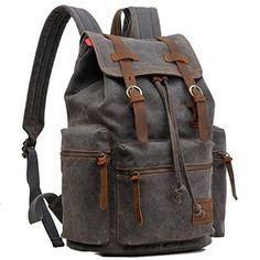 "Gray Casual Vintage #School #Hiking Canvas Backpack - 17"" Laptop Compartment #Serbags"