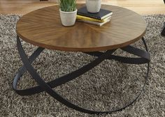 Lancaster Transitional Cocktail Table with Metal Interlocking Base by Liberty Furniture
