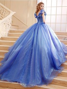 Elegant Off the Shoulder Cinderella Princess Lace-Up Ball Gown