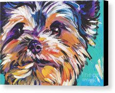 Yay Yorkie  Canvas Print by Lea S.  All canvas prints are professionally printed, assembled, and shipped within 3 - 4 business days and delivered ready-to-hang on your wall. Choose from multiple print sizes, border colors, and canvas materials.