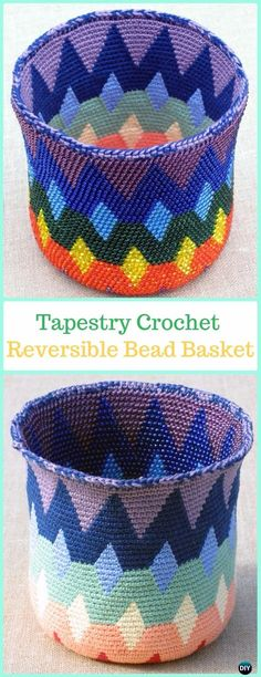 Reversible Bead Tapestry Crochet Basket Paid Pattern -Tapestry Crochet Free Patterns