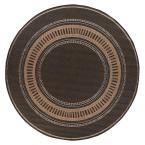 Pueblo Design Black/Cocoa (Black/Brown) 8 ft. 6 in. Round Area Rug