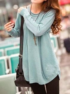 long loose knitted sweater + leggings + long necklaces + messenger bag: