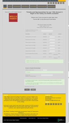 sample ticket page built out of Greater Giving event software - note sponsor offering here as well