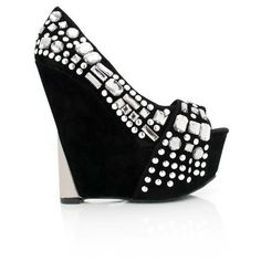 Fancy Steps / bedazzled wedge via Polyvore
