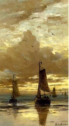 Golden Sails In The Sunset ~Hendrik Willem Mesdag (Dutch, ~Bomschuiten in the surf at dusk - Sailboat Painting, Boat Art, Art Folder, Dutch Painters, Dutch Artists, Art For Art Sake, Nocturne, Beautiful Paintings, Artist Art