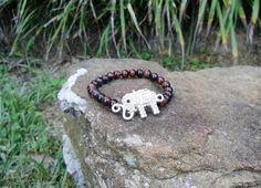 Silver Rhinestone Elephant & Dark Red $6.00 BR152