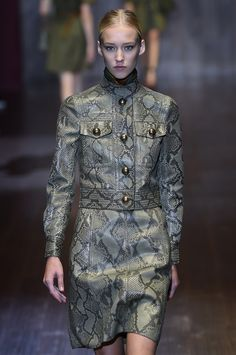Wonderfully paired python , seen at gucci yesterday. Exquisite . #MFW #SS15