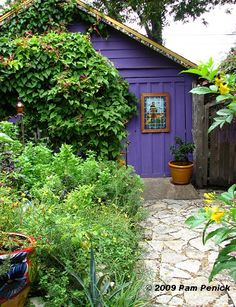 The unexpected charm of a purple garden shed~