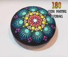 Rainbow Mandala Day 15 of 180 Days of Stone Painting - Truly Majestic Rock Painting Patterns, Dot Art Painting, Rock Painting Designs, Stone Painting, Mandala Rocks, Mandala Art, Mandala Painting, Stone Mandala, Mandala Jewelry