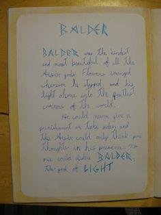 Waldorf ~ 4th grade ~ Norse Mythology ~ Balder ~ main lesson book