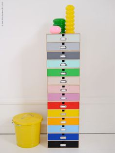These are those wood 2 drawer sets at Ikea and painted. Could stack as high or low as you needed ..love
