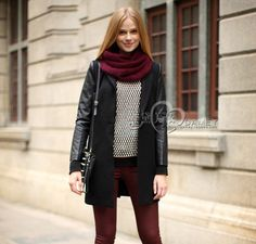 CL313 European Famous brand Z leather wool coat dust coat jacket wear Spring fall winter women lady free Drop shipping $39.50