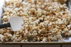 Salted caramel popcorn-few little changes 1/2 t baking soda, 1 t. vanilla and 1 1/2 t. kosher salt. Sweet when you take a bite and salty on the finish.
