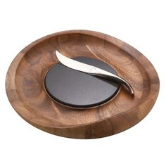 Complete your kitchen needs with the Nambe butterfly cheese tray with knife. Nambe butterfly cheese tray with knife-Acacia-wood/granite/stainless steel-Designed by sean o'hara-Hand wash with warm soap