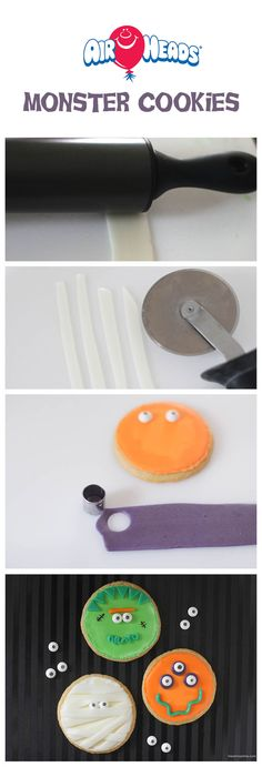 Monster cookies created with cookie cutters and Airheads Candy...fun treat for Halloween! #recipe