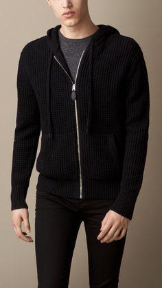 Haut à capuche en points de gaufre en laine et cachemire | Burberry