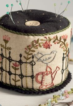 Kathy Schmitz: Stitches from the Garden. Embroidery stitched pincushion, a lovely hand embroidery project
