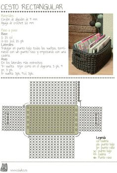 CESTA RECTANGULAR EN CROCHET: Trapillo