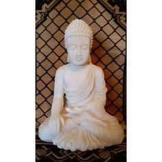 Boeddha beeld wit resin.