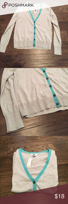 NWT Old Navy Cardigan Gray with blue trim summer cardigan. Old Navy. New with tags. Size large Old Navy Sweaters Cardigans