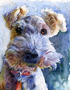 Art Watercolor, Watercolor Animals, Wire Fox Terrier, Fox Terriers, Galo, Wow Art, Dog Portraits, Portrait Art, Animal Paintings