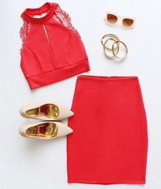 Coral Red Lace Two-Piece Dress