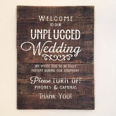 UNPLUGGED WEDDING sign, Wood Pallet Sign, Wedding Sign, Ceremony Sign, Welcome Wood Sign, Rustic Wedding, Turn off Cell Phones and Cameras