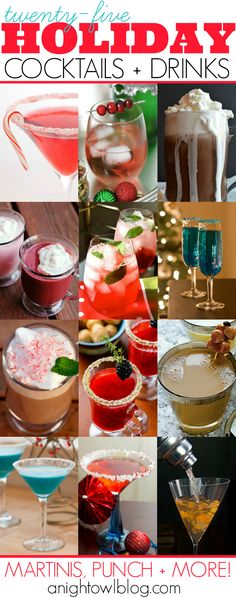 This holiday season serve your guests fun and festive holiday cocktails! Here is one tasty list - martinis, punch and more!