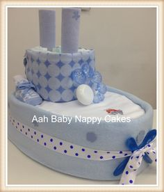 Big Ship Nappy Cake, this and other designs at Aah Baby Nappy Cakes