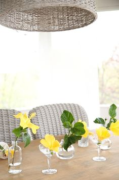 Easy flower arrangement using a collection of glassware via Julie Blanner | #MeyersStyles