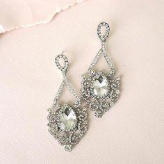 Rhinestone Earrings, Drop Earrings, Bridal Earrings, Chandelier Earrings, Bridal Looks, Art Deco, Delicate, Elegant, Jewelry