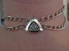 VINTAGE DSGNR SGD LCI Liz Claiborne Crest Double Chain Choker Necklace Jewelry
