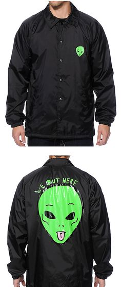Throw on some martian style with a green We Out Here alien head logo graphic on the left chest and larger on the back of a black nylon shell that has a soft cotton space lining for comfort.