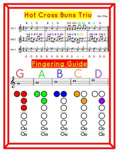 Easy Recorder songs with Finger Chart
