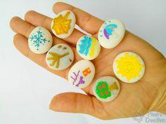 Piedras pintadas con rotuladores de PiedraCreativa Diy, Painted Rocks, Seasons Of The Year, Tutorials, Creativity, Manualidades, Bricolage, Do It Yourself, Homemade