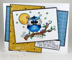 """Back to school encouragement card create with a stamp from the """"You Know Whooo"""" set at Kraftin' Kimmie Stamps.  Created by Karen Hanson"""