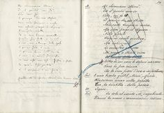 La bohème by Giacomo Puccini, page from the handwritten libretto with autograph annotations by Luigi Illica and Giacomo Puccini