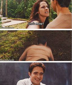 This was funny Bella is all mad, Jacob is trying to explain. Himself and Edward is just laughing