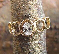 VVS Diamond, Vintage Engagement Ring / Wedding Band - 1960s Mod Yellow Gold Unique Engagement Ring. $810.00, via Etsy.
