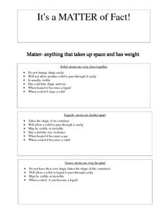 This is a worksheet that I have created for my students to reference the properties and types of matter. This can be used to place in a notebook or a binder for easy reference.