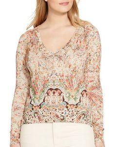 Lauren Ralph Lauren Plus Plus Paisley Printed Sweater Women's Pink Mul