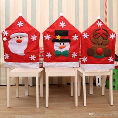 Christmas Santa Hat Dining Chair Back Covers Party Xmas Table Decoration 1 Xmas Table Decorations, Snowman Decorations, Chair Back Covers, Chair Backs, Christmas Home, Christmas Wreaths, Christmas Crafts, Christmas Chair Covers, Xmas Tree