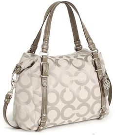 Coach Op Art Silver Signature Alexandra Convertible Satchel Shoulder Bag 15275 Grey