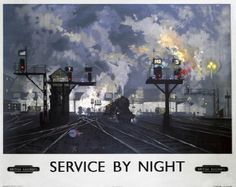 Service by Night British Railways Travel Poster Print for sale online Posters Uk, Train Posters, Railway Posters, Art Deco Posters, Cool Posters, Poster Prints, Art Prints, British Railways, British Travel