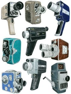 awesome Movie Camera Drawings (via ChristineBerrie etsy)