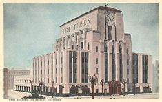 Los Angeles Times Building postcard. The Times Building was originally completed in 1935. In 1948, a 10 story addition at the northwest corner of South Spring Street and West 3rd Street was added. To the west of the older building, a six story addition was added from 1970-1973 that consisted of two horizontal boxes hovering over various vertical boxes below.