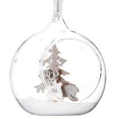 Boule de Noël ouverte en verre argent 8 cm ALPAGE   - Vendu par 6