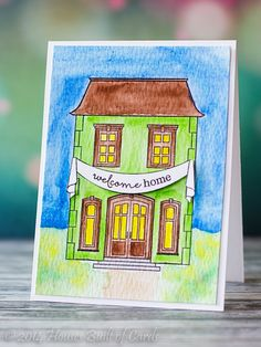 Houses Built of Cards: Winnie and Walter August Release Blog Hop - welcome home card by Heather Hoffman featuring stamps from This Awesome House. #winniewalter